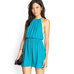 Forever 21 Teal Blue Halter Dress